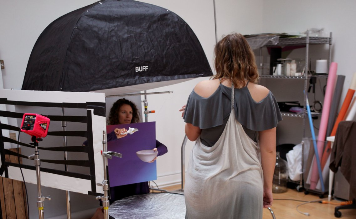 Behind the scenes with Sarah Hone directing a shoot