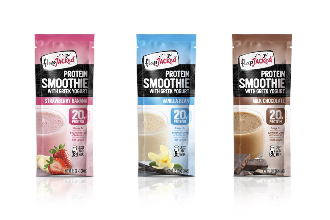 row of protein smoothies packaging