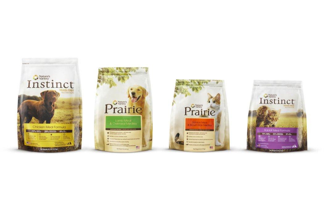 Different kind of instinct brand dog food packages
