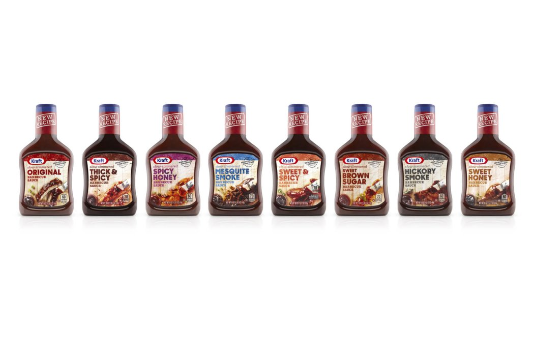 Row of different sauces on white background