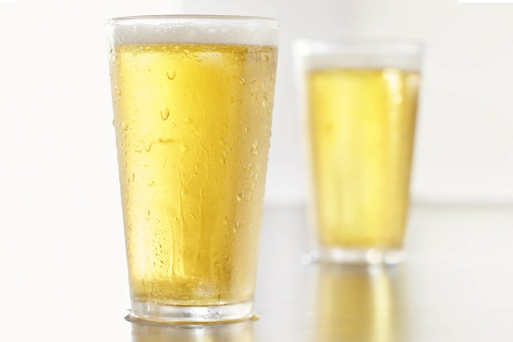 Two glasses of cold beers
