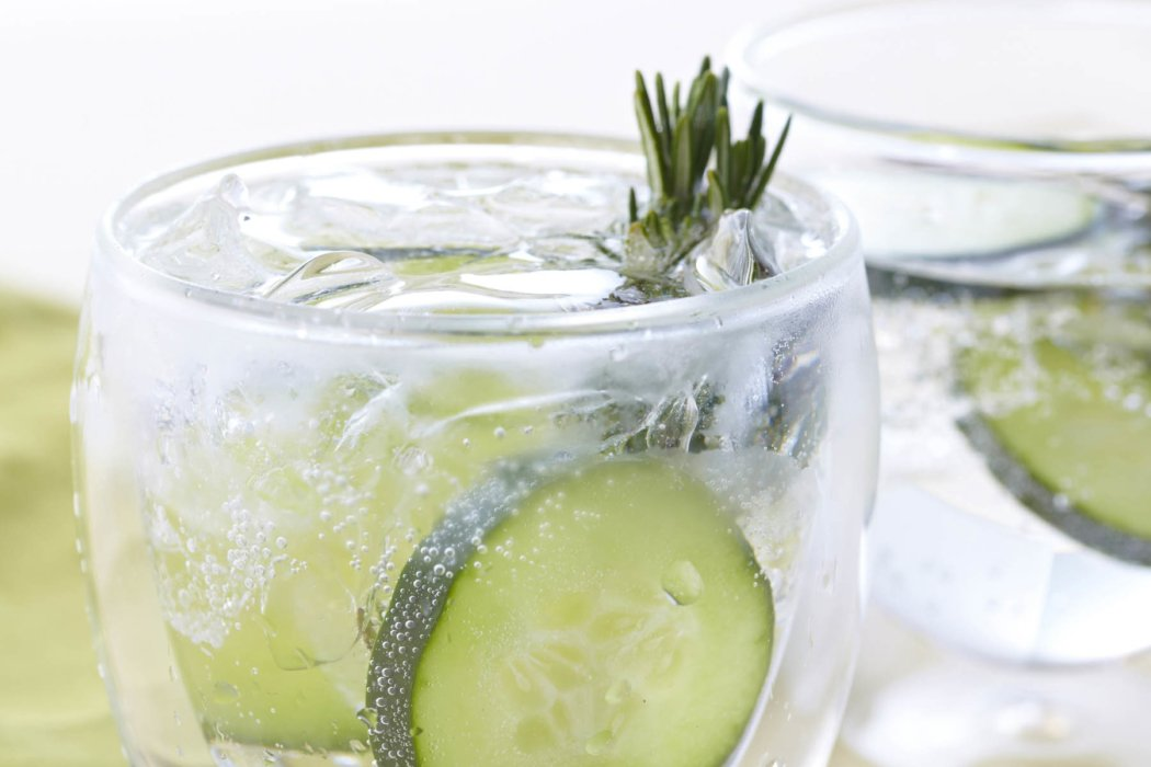 Cucumber cocktail with rosemary - drink photography