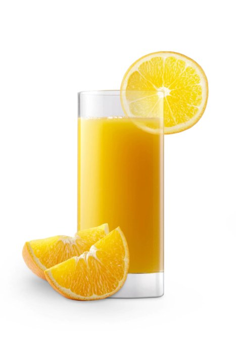 Orange juice in a glass with slices of oranges