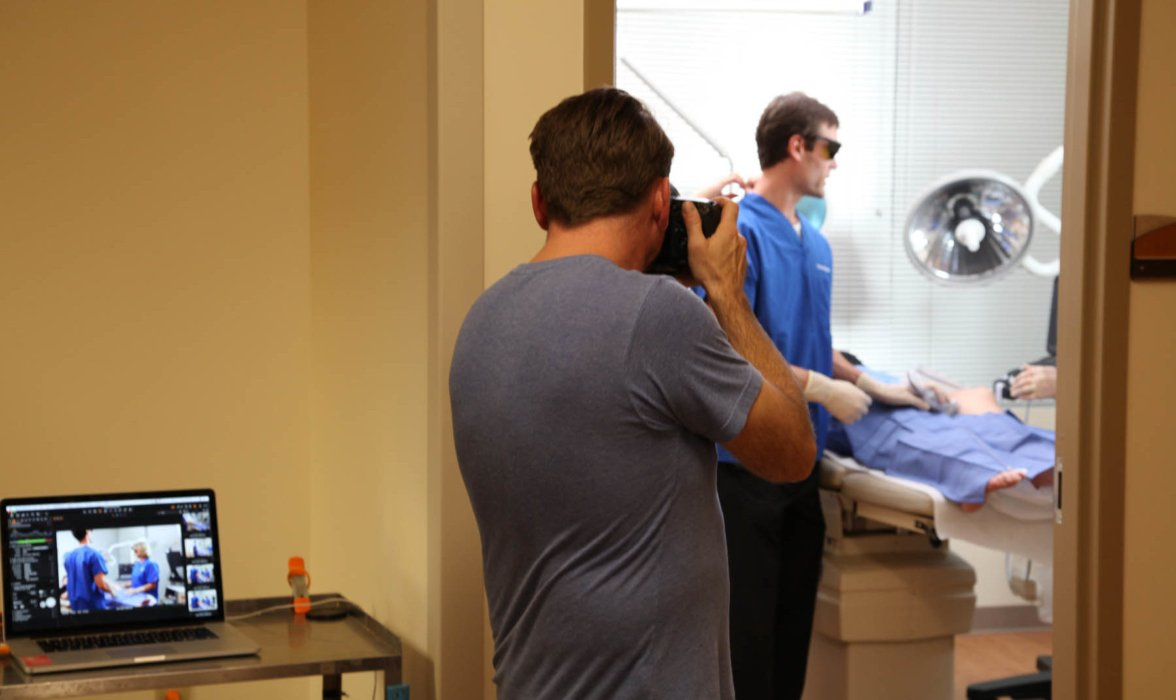 Matt Witherspoon Healthcare Shoot Behind the Scenes with Camera Set Taking Photos