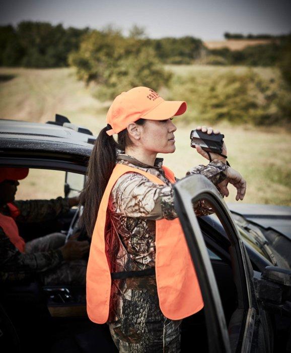 Woman with orange gears