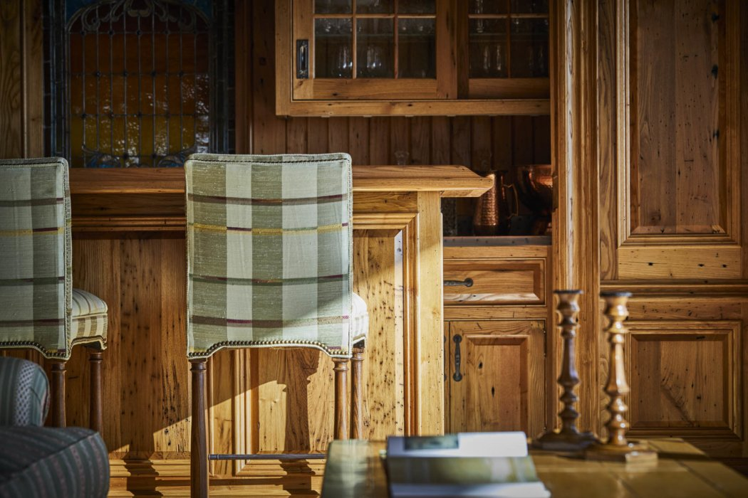 Interior architecture of an apartment detail bar with fine wood