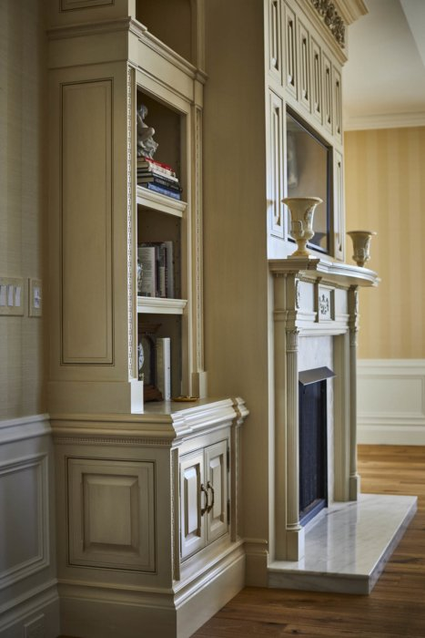 Interior architecture of an apartment fireplace feature