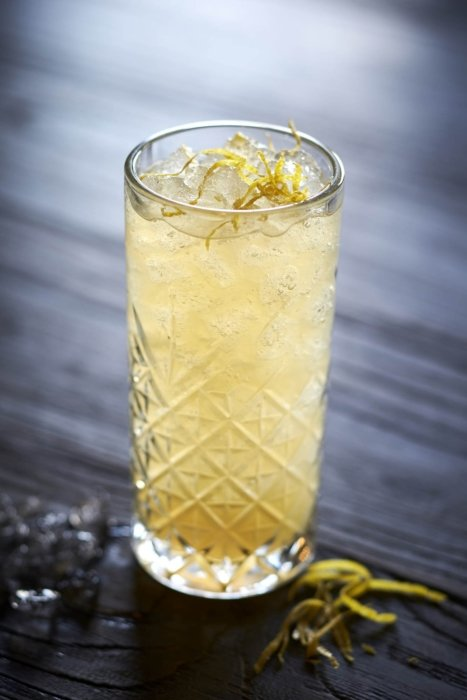 Drink Photography - A tall cocktail in a glass with lemon peel