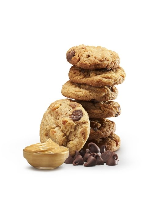 Peanut butter chocolate chips cookies in a stack