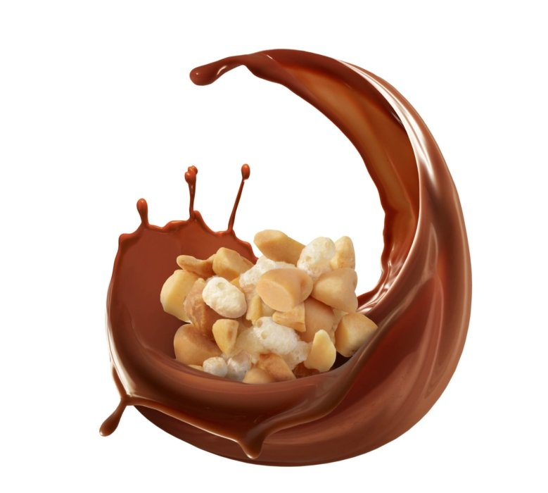 A bold splash of chocolate wrapping crunchy candy