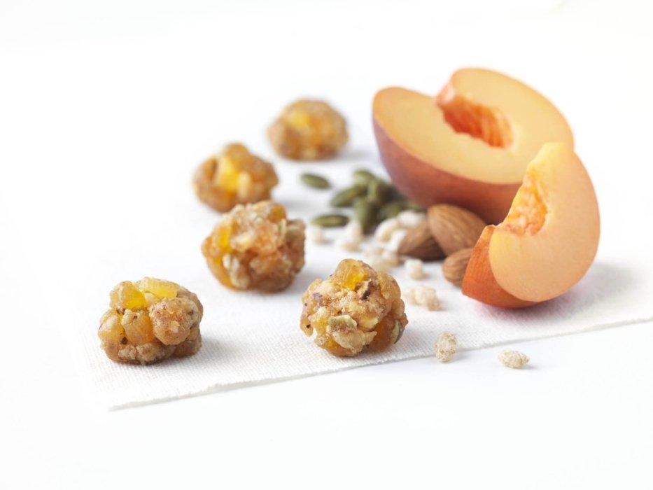 Peach almond granola bites