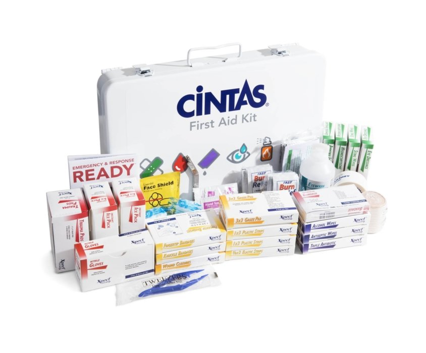 A first aid kit from Cintas showing all contained medical products and more   Healthcare Photographer