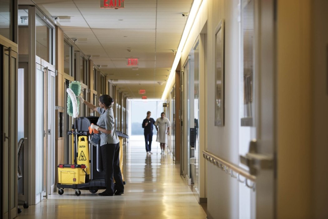 A hospital hallway being cleaned   Healthcare Photographer