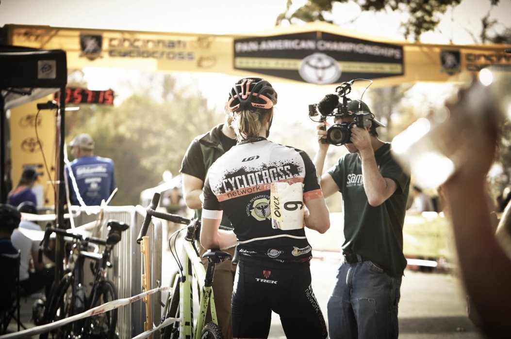 Cyclocross rider with the press