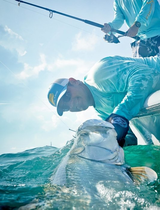 A saltwater fisherman pulling a tarpon from the water