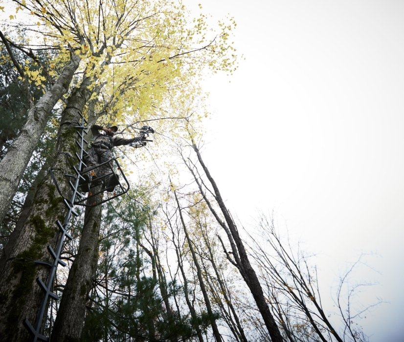 A bow hunter high up in a tree