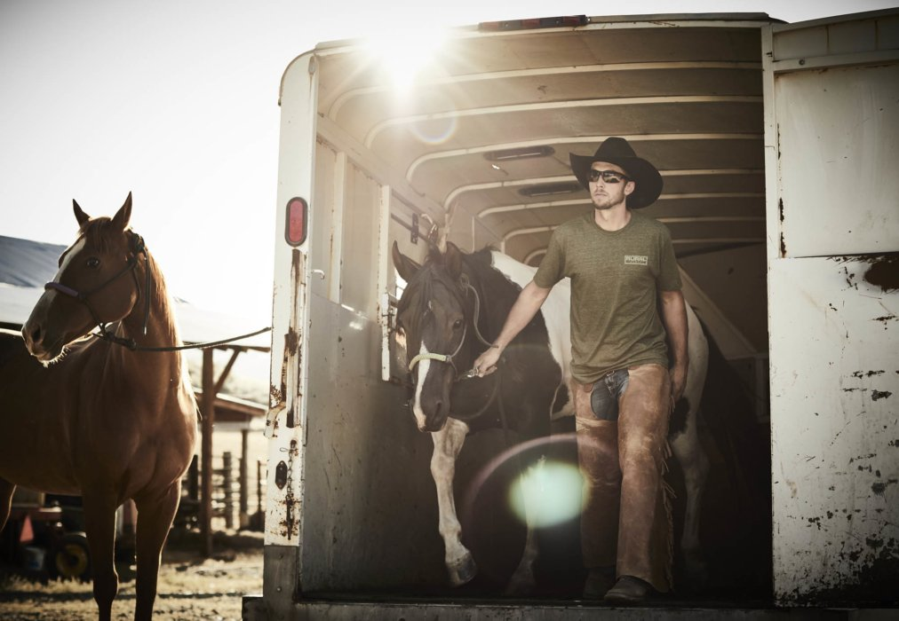 A rancher working with his horses coming out of a trailer