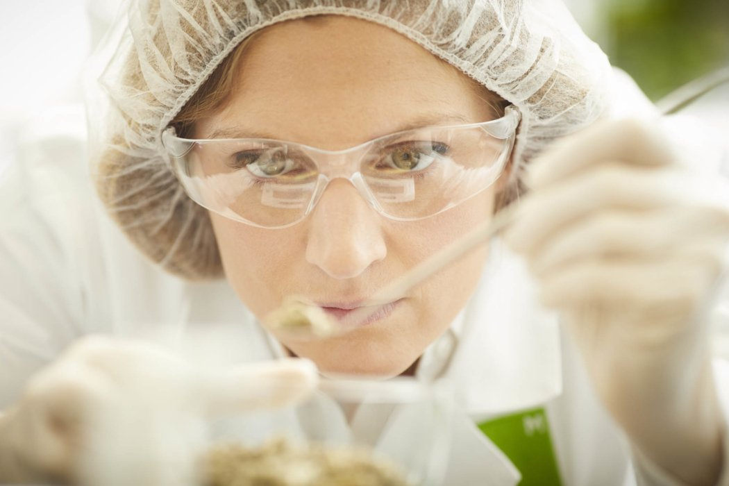 Close up of a lab worker measuring fine ingredient