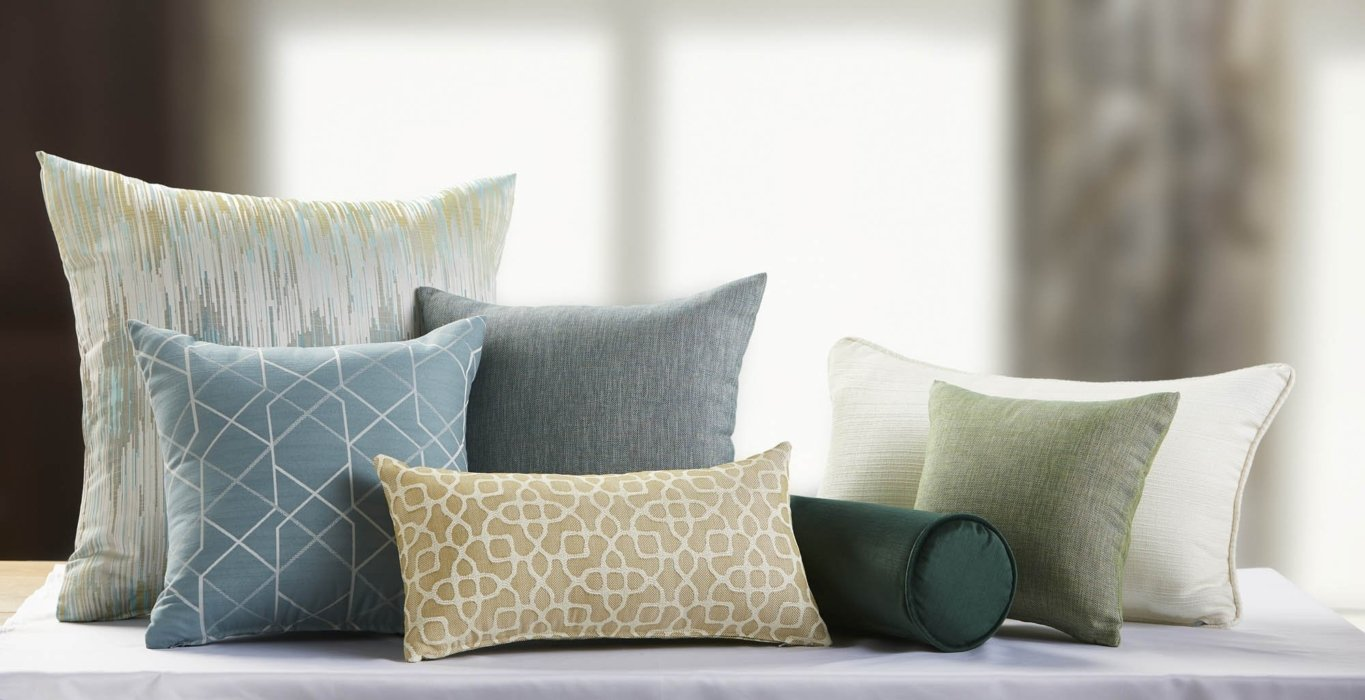 A set of textile options on pillows for hotels alternate