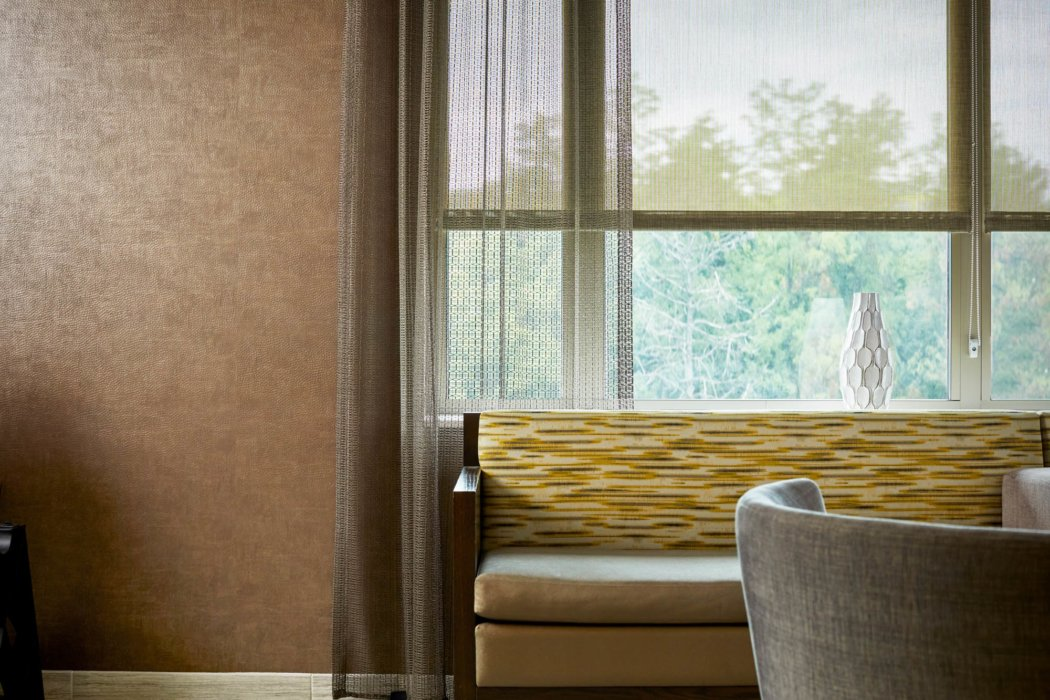 Beautiful textiles on blinds