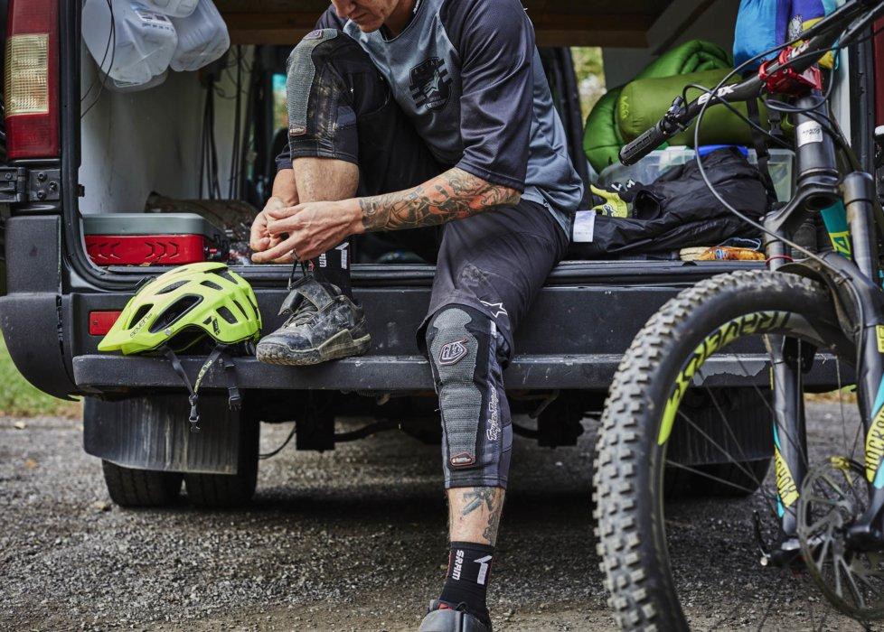 Cyclist Trevor Gay getting ready to ride