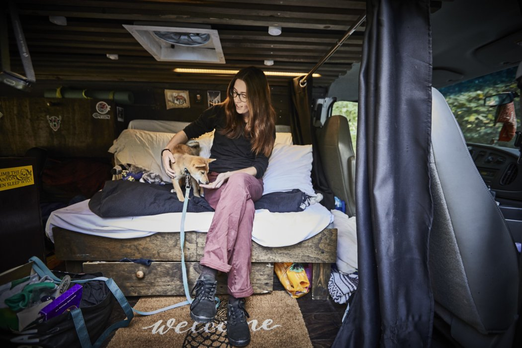 Lifestyle of a couple living in a van