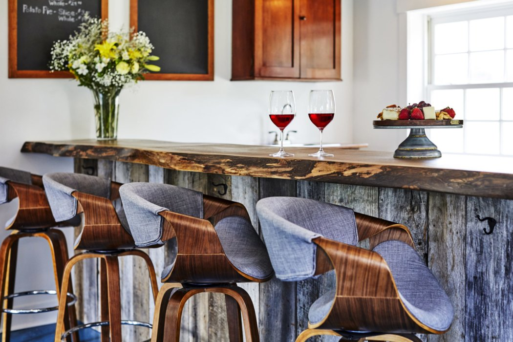 Bar of an inn with beautiful interior design and architectural accents
