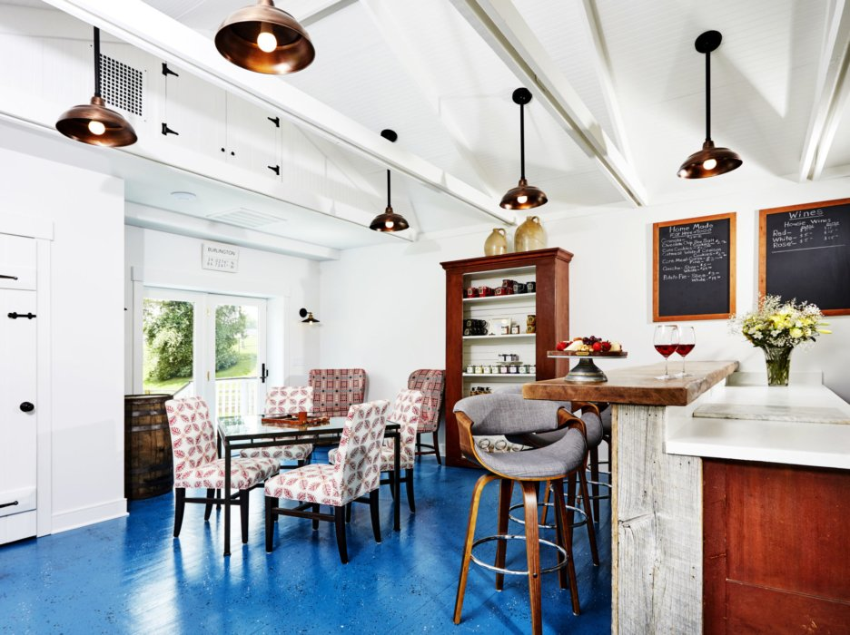 Dining area and bar in a bed and breakfast with architectural accents