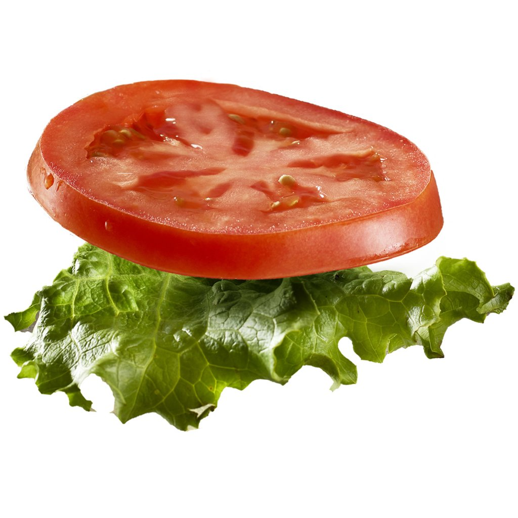 floating tomatoe and lettuce from a cheese burger