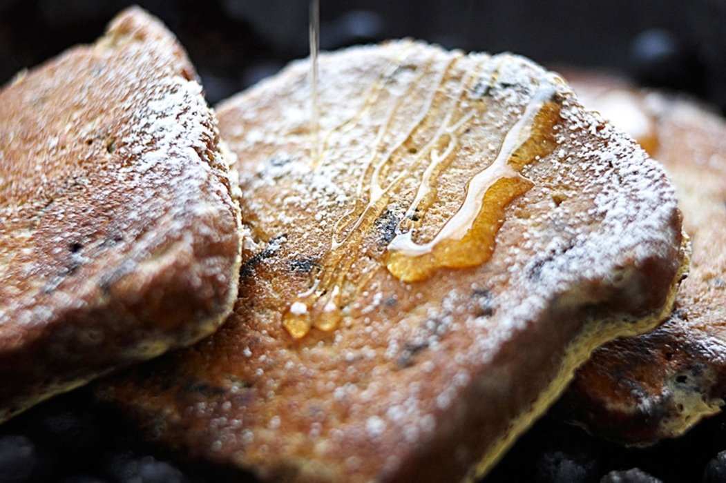 French toast with a syrup drizzle