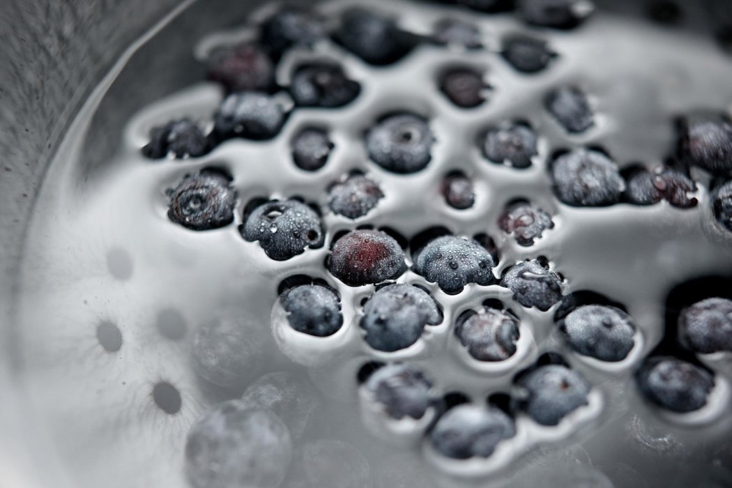 Blueberry syrup being made