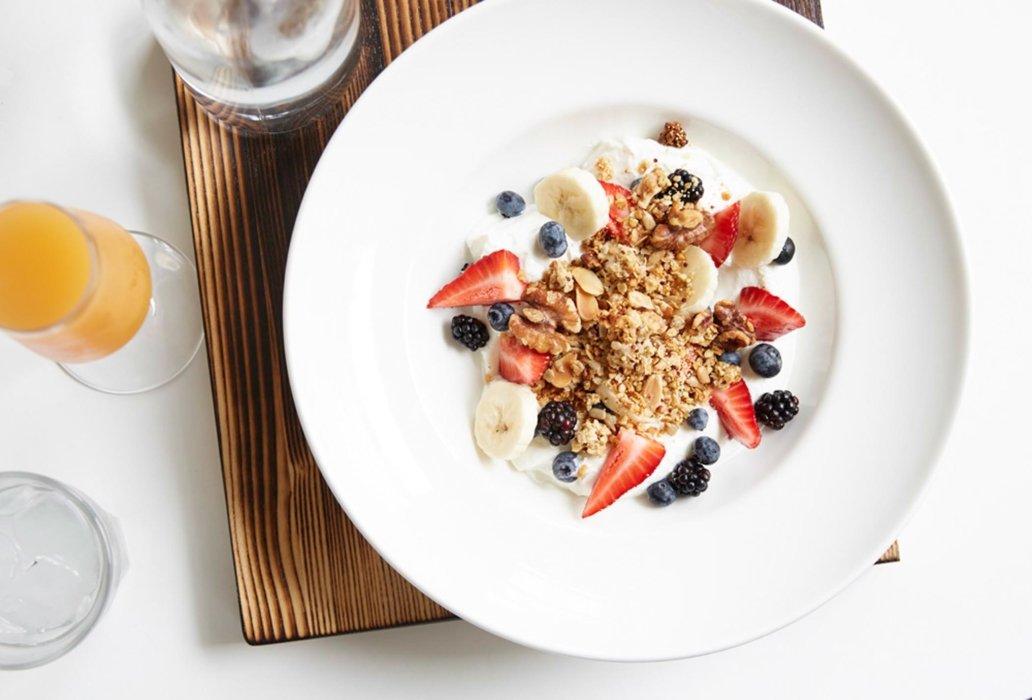 A bowl of granola and yogurt