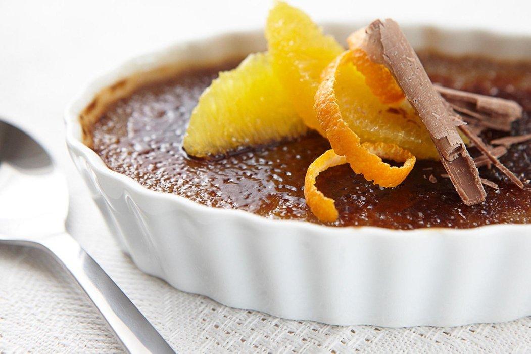 creme brulee with orange peel