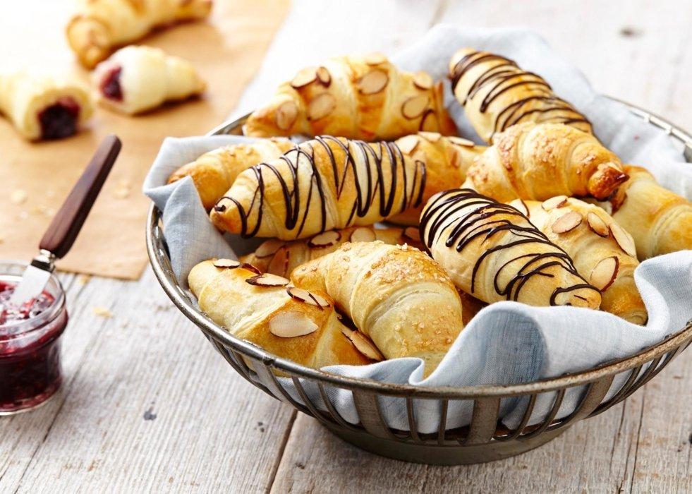 Filled croissants in a basket