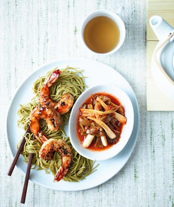 Shrimp dinner with chopsticks