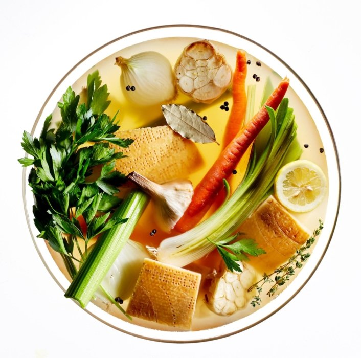 Bowl of vegetables on a white background