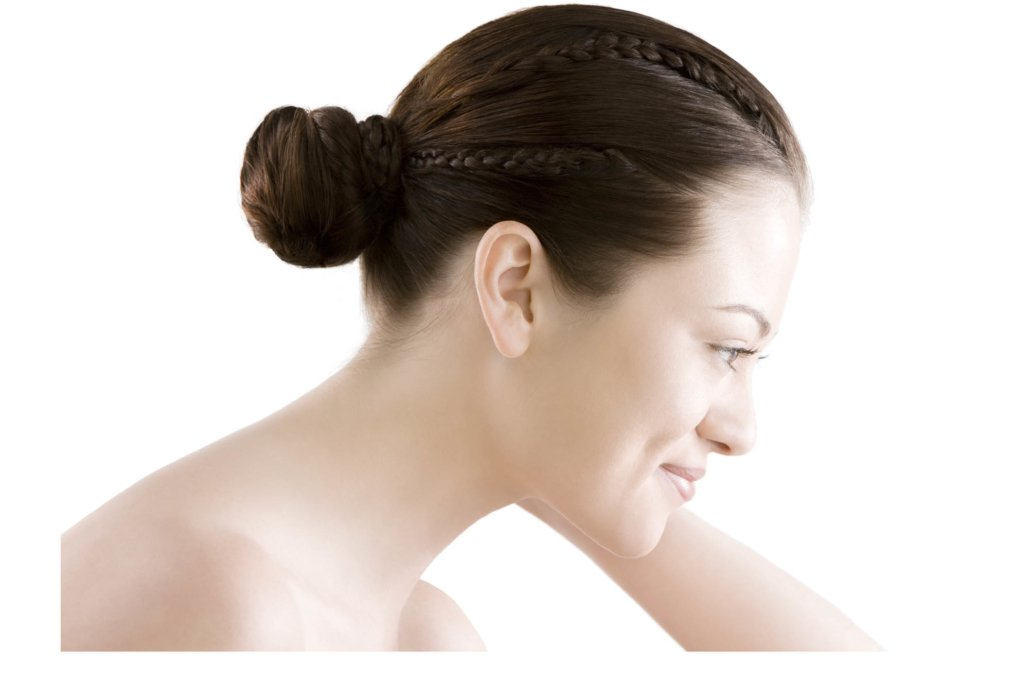 Beauty shot of a woman's face side view