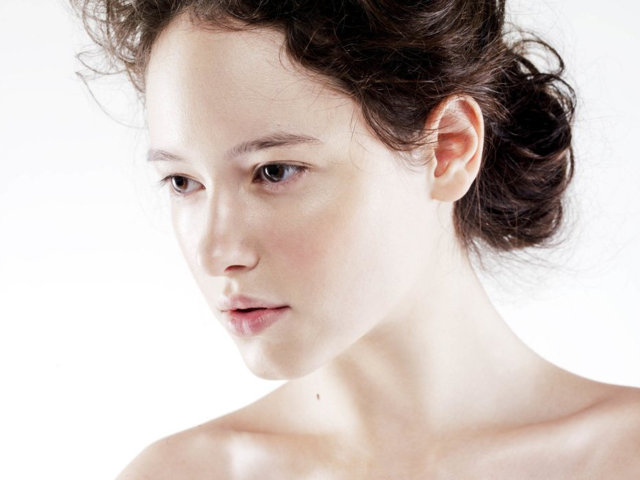 Beauty shot of a woman's clean face and skin