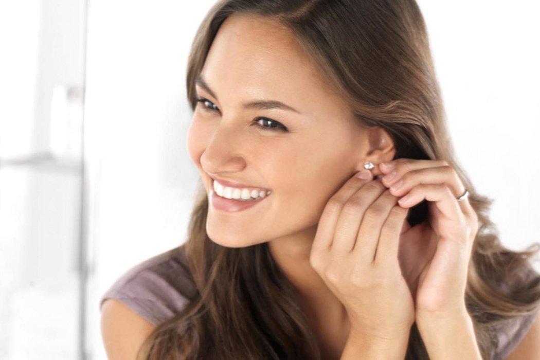 Beauty shot of a woman wearing ear rings