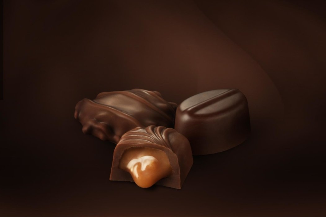 Dark chocolate filled with caramel