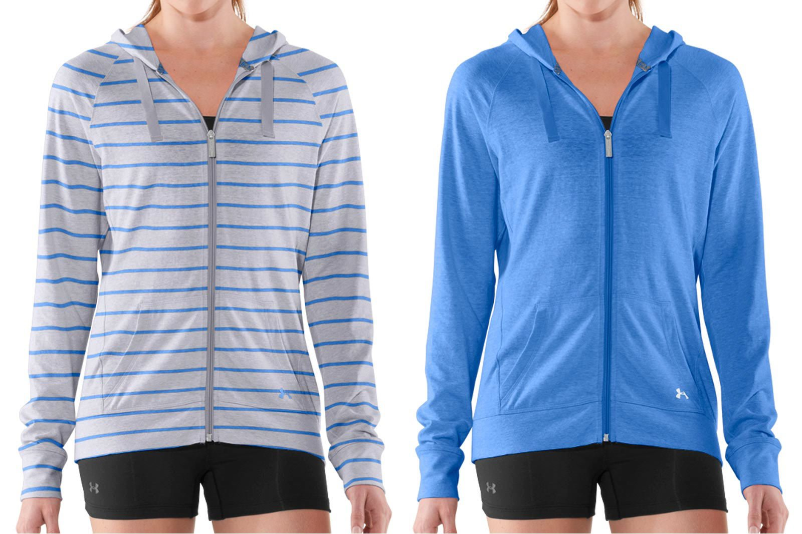 Colorways example - women wearing blue hoodies alternate