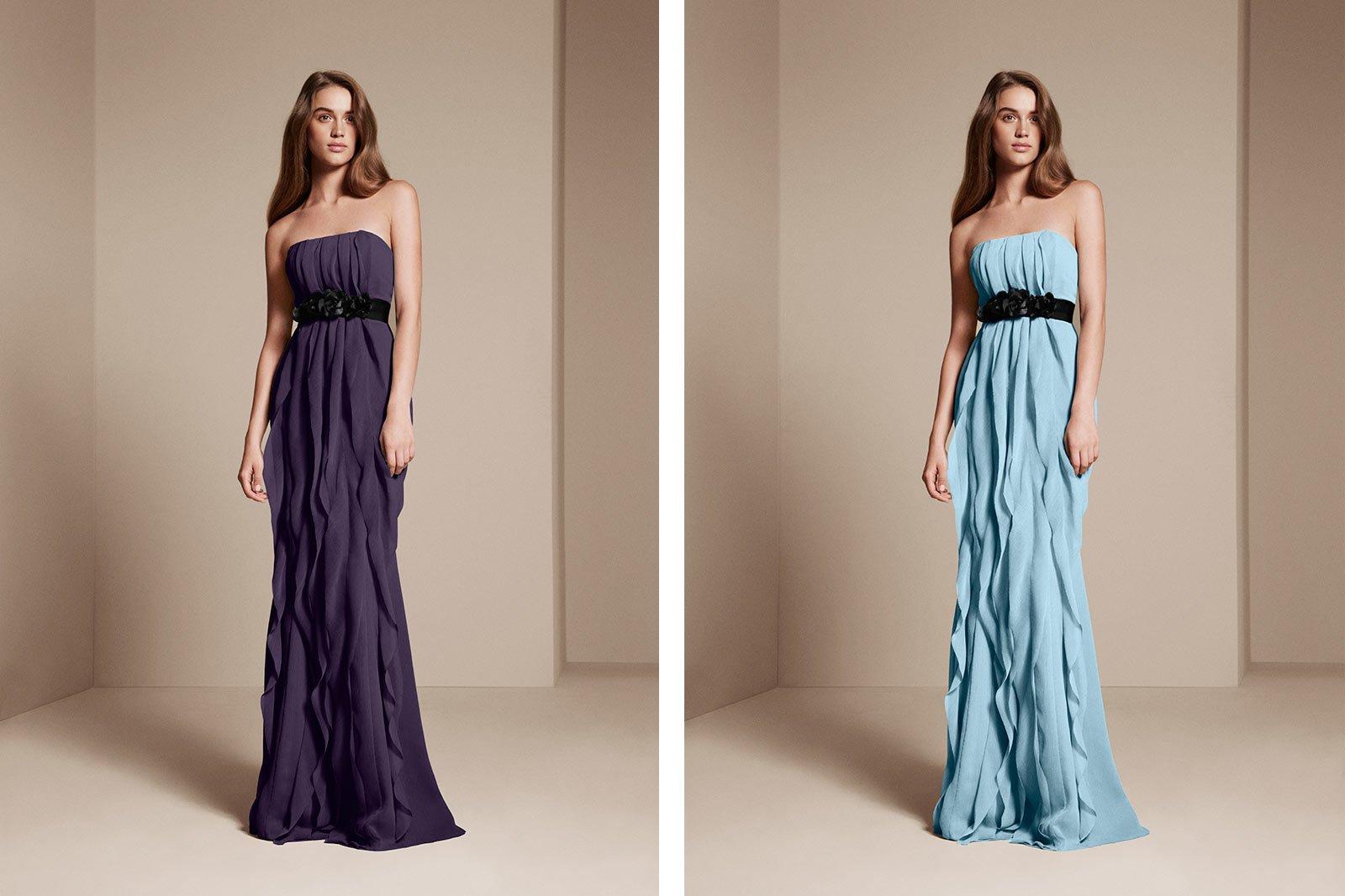 Colorways example - bridesmaid wearing bridesmaid dresses alternate blue and purple