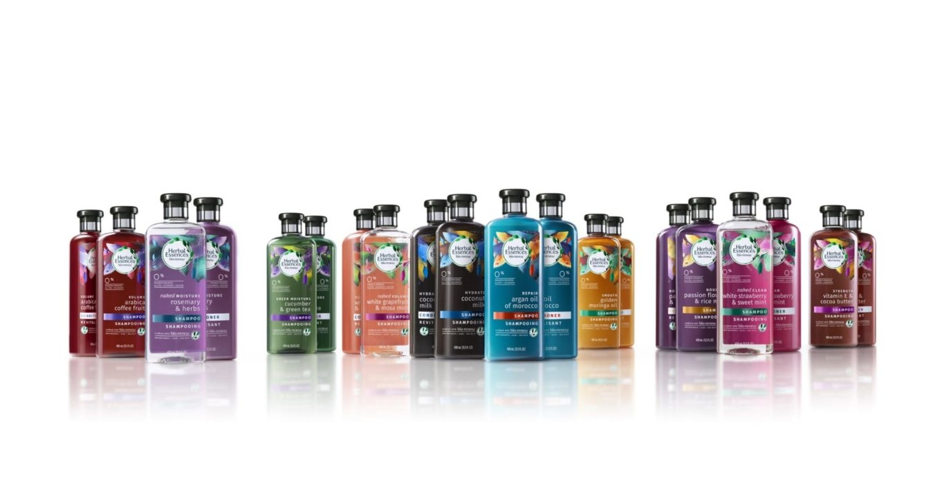 All herbal essence bottles on a white background - Cosmetics photography