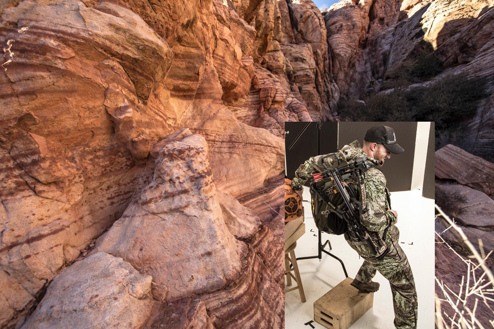 Man wearing gear climbing into a canyon before retouching