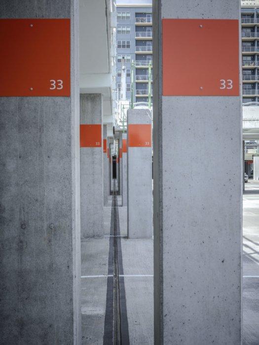 Concrete construction of a parking garage