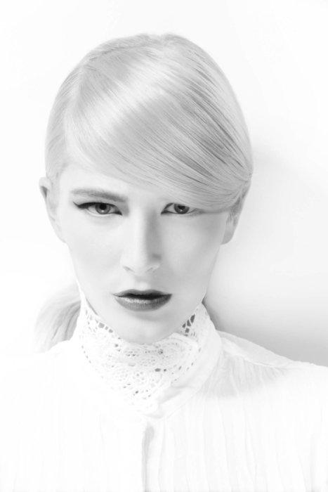 A female fashion model in black a white