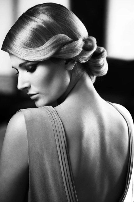 A black and white fashion shoot