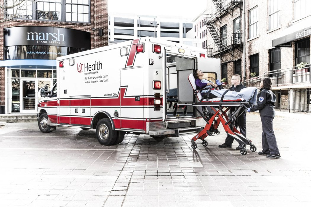 An ambulance and EMTS in a city scene   Healthcare Photographer