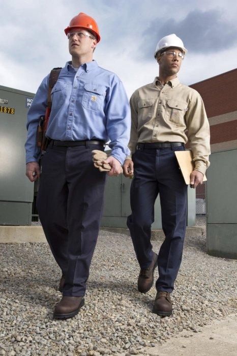 Industrial workers walking