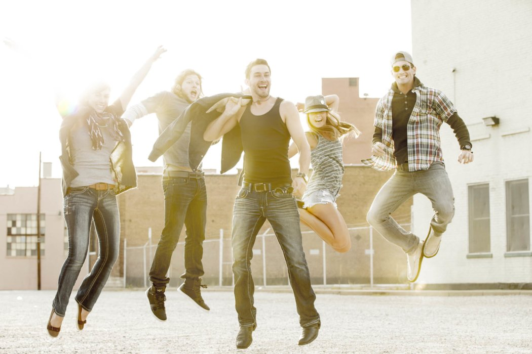 Lifestyle shot of people jumping